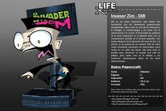 Dib es un joven excéntrico, que posee una fascinación con los fenómenos paranormales inexplicables, tales como la caza de los fantasmas, la ufología, la criptozoología y así como con lo sobrenatural y lo oculto. Él interceptó las palabras de la Gran Asignación en el planeta Irken con su computadora portátil en el primer episodio.... #papercraft Paranormal, Invader Zim Dib, Paper Crafts, Movie Posters, Supernatural, Invader Zim, Ghosts, Occult, Hunting
