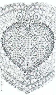coeurs 7..... Filet Crochet, Crochet Motifs, Crochet Diagram, Crochet Chart, Thread Crochet, Cotton Crochet Patterns, Crochet Patterns Amigurumi, Crochet Dollies, Crochet Flowers