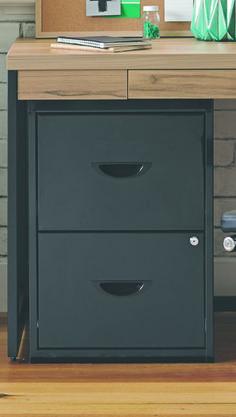 Soho 2 Drawer Plush Filing Cabinet Black Drawer Filing Cabinet, Filing Cabinets, Home Office Furniture Sets, Office Works, Ikea Office, My Workspace, Wood Cabinets, Cabinet Design, Home Goods