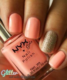 Peach & gold glitter