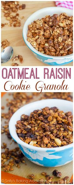 Oatmeal Raisin Cookie Granola is so easy to make and tastes like a bowl full of homemade, old-fashioned oatmeal cookies!