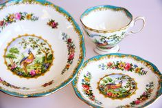 Royal Albert Bone China bowl, cup and saucer with Chelsea Bird motif, romantic colourful home decor