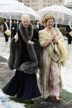 Queen Margrethe of Denmark and Queen Anne Marie of Greece arrive for a gala dinner at the Operahouse in Oslo on May 10, 2017 in celebration of the 80th bithdays of King Harald of Norway and Queen Sonja of Norway.
