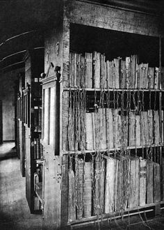 Hereford Cathedral, Chapter Library Hereford, England Built in 1394, the bookcases in this library contained a system of shelves and chains.