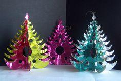 3 Vintage 60's Mid Century Modern Aluminum Trees Christmas Decor Pink Aqua Gold