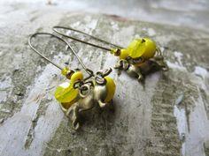 Dachshund earrings, wiener dog earrings, dog, doxie - yellow earrings, bright yellow, mustard, yellow dogs, summer dogs -kidney hoops, brass