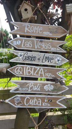 5 x las Vegas Bali Garden Bodem Backyard Signs, Garden Signs, Wood Plank Art, Bali Garden, Surf House, Ibiza Beach, Directional Signs, Painted Wood Signs, Beach Signs