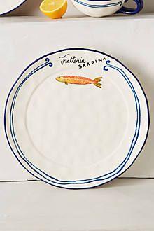 Sardina Serveware - anthropologie.com Dinner Plate Sets, Dinner Plates, Dessert Plates, Keramik Design, Anthropologie Home, Fish Plate, Kitchen Collection, Side Plates, Pottery Painting