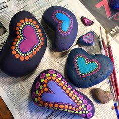 On my work table today. #wip #paintedstones #heart #heartrock #handmade #socalartist #shadowdanceglass #paintedrocks