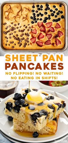 Sheet Pan Pancakes! Same great flavor and texture as traditional pancakes, but no more waiting, flipping, or family members eating in shifts! Best Breakfast Recipes, Breakfast Bake, Brunch Recipes, Breakfast Meals, Pancake Recipes, Vegan Breakfast, Easy Delicious Recipes, Yummy Food, Simple Recipes