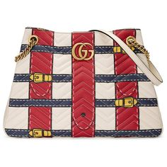 Gucci Gg Marmont Trompe L'Oeil Shoulder Bag ($2,500) ❤ liked on Polyvore featuring bags, handbags, shoulder bags, totes, women, red leather tote bag, leather shoulder bag, leather tote handbags, leather tote and leather man bags