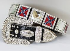 Rebel Flag Rhinestone Belt