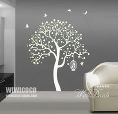 White dots tree with birds and birdcage wall decal