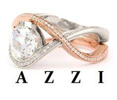 18k rose + white gold with hand set micro pave diamonds. Azzi -Brilliant