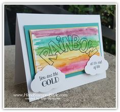 watercoloring with over the rainbow tree builder punch for simple swap card