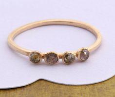 Rose Cut Diamond Ring 4 Diamonds Ring Engagement by Tulajewelry, $220.00 ~ Elegant simplicity itself!