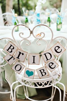 Bride to be wedding vintage heart sign chair rustic teal shower party ideas banner