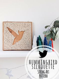 Modern hummingbird silhouette minimalist string art pattern. Making modern nail and string art decorations is a great way how to relieve stress and make something really cool for your home in the process. Making string art isn't hard. Even though hammering is involved it is quite a peaceful process with a beautiful outcome. #affiliate #hummingbirds #spring #DIY #stringart