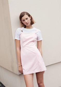 Vintage pastel pink dungaree dress
