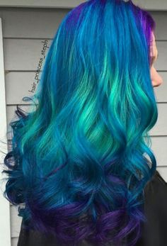 Beautiful Teal blue dyed hair color...