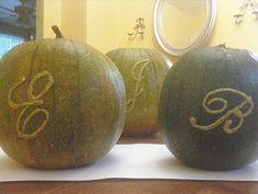 puffy paint monogramed pumpkins Monogram Painting, Puffy Paint, Pumpkins, Fall Decor, Watermelon, Autumn, Fruit, Halloween, Crafts