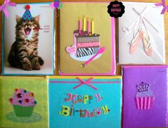 New PAPYRUS Birthday Card Lot of 6 Purple Diva Ballerina Cat Cupcake for Her #Papyrus #Birthday
