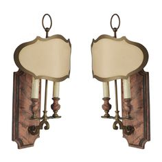 Pair Of French Faux Marble Sconces