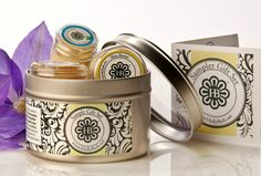 Travel Gift Set – complete body care in a tin  What better gift thanHollyBeth Organics travel gift set in a reusable tin… enough product for 2 -3 month. Ideal for Christmas, Hannukah or a hostess gift. Lovingly hand made in artisan batches the set includes HollyBeth Organics best sellers, rose geranium face moisturizer, best selling eye cream, grits honey scrub, lavender hand cream, lemon lime shea butter for feet.