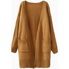Bronze Longline Pocket Loose Cardigan ($44) ❤ liked on Polyvore featuring tops, cardigans, clothing - cardigans, jackets, outerwear, brown cardigan, loose cardigan, long line cardigan, loose tops and longline cardigan