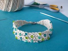 summer cotton crochet bracelet Free Pattern