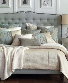 New Haven Tufted Headboard or Bed. Customizable bedding and Upholstered beds shipping to all locations. Home Bedroom, Master Bedroom, Bedroom Decor, Bedroom Ideas, Luxury Bedding Collections, Upholstered Beds, Home And Deco, Beautiful Bedrooms, Bed Pillows
