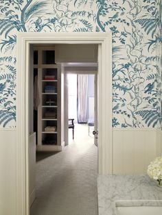 Kensington House Master Suite through shot, bathroom blue and white toile wallpaper with half height panelling Brunschwig Bird & Thistle