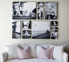 I want to do something like this with canvas, except not over my couch and photos of our travels instead of people