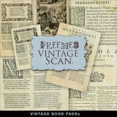 Far Far Hill - Free database of digital illustrations and papers: Freebies Vintage Book Pages