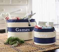Nautical Striped Storage   Pottery Barn Kids