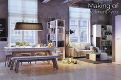 Modern design kitchen or dining tables – trends — Dezignmag Dining Room Design, Dining Room Furniture, Dining Room Table, Plywood Table, Minimalist Desk, Kitchen Desks, 3d Models, Cuisines Design, Küchen Design