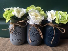 Gray Ombre Painted Mason Jars Flower Vases by PrettySimplyStudio