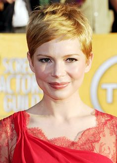 Michelle Williams SAG awards 2012, pixie cut with beautiful texture and colour.