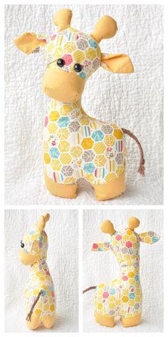 DIY Fabric Toy Giraffe Free Sewing Patterns | Fabric Art DIY Plushie Patterns, Animal Sewing Patterns, Sewing Patterns Free, Free Sewing, Softie Pattern, Sewing Toys, Sewing Crafts, Sewing Projects, Baby Sewing