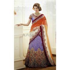 Blue Brocade and Satin #Lehenga Choli with Dupatta #Women #Clothing #Dresses #LehengaCholi