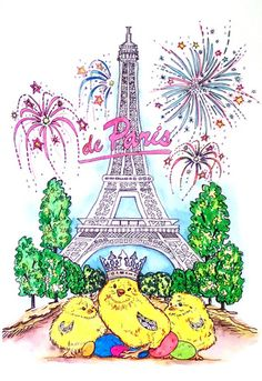 Eiffel Tower Chicks from the Royal Chickens Coloring Book Royal Chicken, Chicken Brands, Decor Market, Chicken Art, Cottage Chic, Coloring Books, Tower, Christmas Ornaments, Holiday Decor