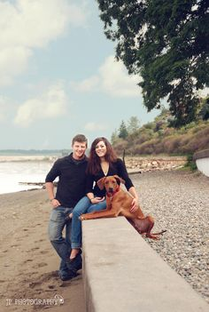 JP Photography Couple and dog at the beach, tacoma wa, engagement