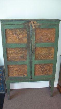 Antique PRIMITIVE Pie Safe Kitchen Cupboard Cabinet, Windsor Green, V Cut Legs | eBay