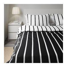 TUVBRÄCKA Duvet cover and pillowcase(s), black, white black/white Full/Queen (Double/Queen)