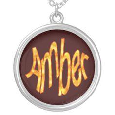 "http://www.zazzle.com/bentoutofshape Amber, ""Amber"" Necklace, Necklaces, Name Necklaces, Names"