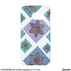 Colorful flowers in blue squares #samsung galaxy s7 #case. #zazzle http://www.zazzle.com/colorful_flowers_in_blue_squares_samsung_galaxy_s7_case-179322059875240749