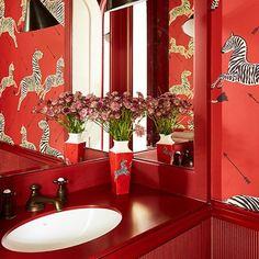 Red Bathroom - At Home: A Fun Colourful Home by Beata Heuman
