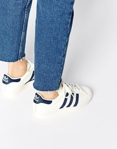 Adidas Superstar 80s Vintage White & Navy Trainers