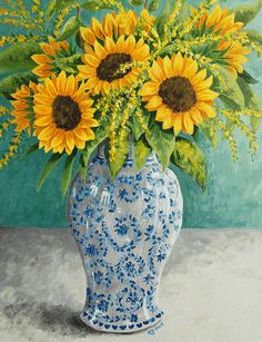 Sunflowers - an oil painting on fineartamerica.com by Katharine Green