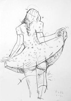 Detlev Foth, Mädchen, sein Kleid lupfend - eine Verzeichnung on ArtStack #detlev-foth #art